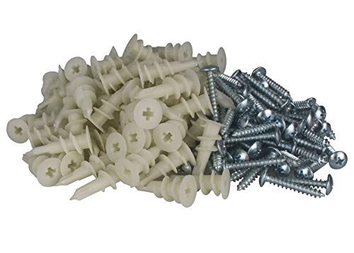 Anclajes de plástico para paneles de yeso con tornillos surtidos, 50 unidades