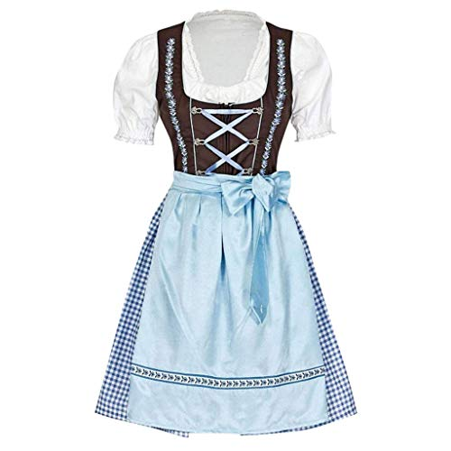 HEVÜY Damen V-Ausschnitt Minikleid Langarm Mittelalter Party Viktorianischen Königin Kleider Gothic Jahrgang Prinzessin Oktoberfest Magd Outfit
