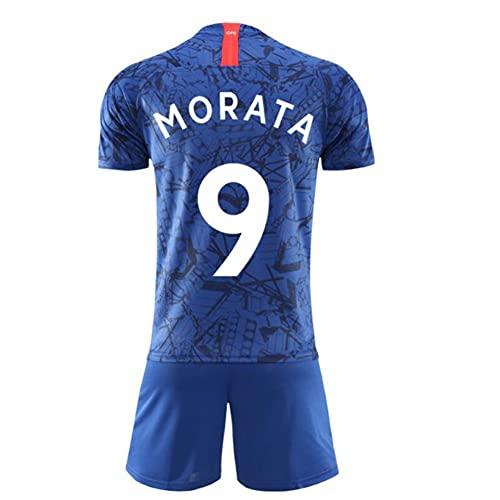 W&F Fußball-Jersey-Set, Alvaro Morata # 9 Fußballuniform, atmungsaktive Sport-Kurzarm, Männer und Frauen (Color : A, Size : Adult-XXL)