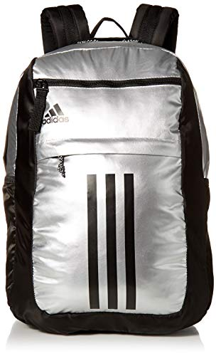 Price Drop adidas Unisex League 3 Stripe Backpack, Silver/Black, One Size No promo code needed