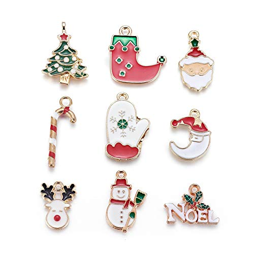 Kissitty 18pcs Light Gold Plated Enamel Charm Pendants Alloy Christmas Theme Pendants 14~26x9~21mm for Necklace Bracelet Earring Xmas Jewelry Gift Making