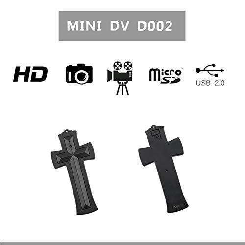 SSCJ Collar De Plata Oculta Mini DVR Grabador Cruz Cámara Oculta 8GB HD 1080P