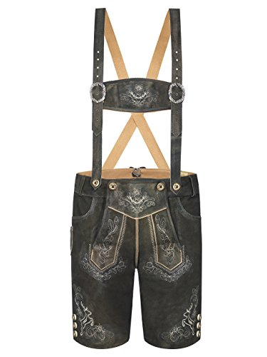 Almbock Trachtenlederhose kurz Wildleder - Lederhose braun mit bestickten Hosenträgern - traditionelle Lederhose Herren Tracht kurz - Lederhose 46