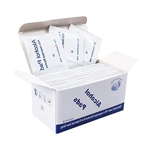 XYDDC Portátil 100 unids/Bolsa Esponjas de Alcohol Almohadillas Toallitas Limpiador antiséptico Limpieza Esterilización Primeros Auxilios Accesorio de Maquillaje en el hogar