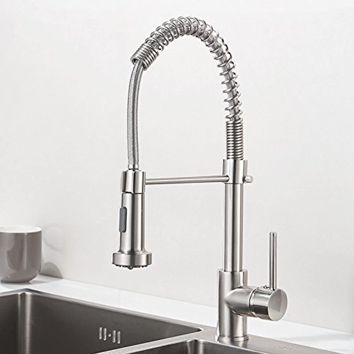 Hlluya Professional Sink Mixer Tap Kitchen Faucet Kitchen faucet full copper spring redary water and bubbles.