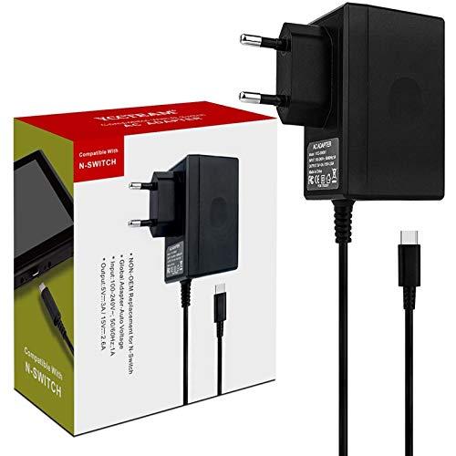 Chargeur pour Switch Console Adaptateur Secteur Support le Mode TV Charge Rapide avec Câble de 1.5m/5ft Compatible avec Switch Lite
