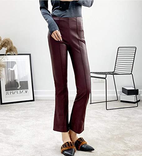 YZLYJL Lederhosen Die modischsten purpurroten Pu-Leder-Motorradhosen für Frauen, knöchellange, kleine, ausgestellte Lederhosen mit mittlerer Taille, dunkelrot, xs