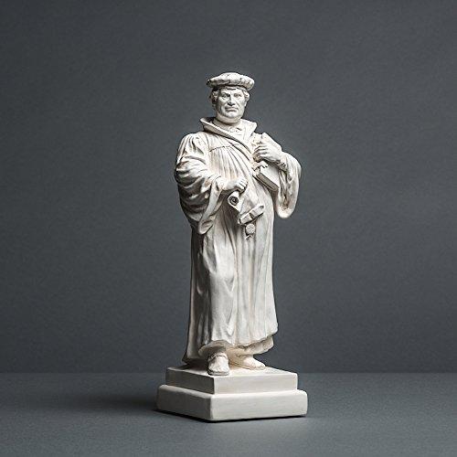 Martin Luther sculptuur van hoogwaardig cellan, echt handwerk, Made in Germany, cadeau-idee, buste in wit, 18 cm