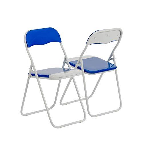 Chaise de bureau bleu/blanc, pliable et matelassée Harbour Housewares - Boîte de 6