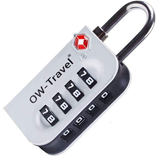 OW-Travel Candado maleta TSA Anti robo. Candado numerico 4 Digitos. Candado Combinacion Taquilla. Candados para mochilas y maletas. Candado Taquilla Gimnasio. TSA Candado seguridad equipaje Plata 1
