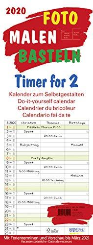 Foto-Malen-Basteln Timer for 2 2020: Familienplaner mit 3 Spalten als Foto-kalender zum Selbstgestalten. Familienkalender mit Ferienterminen und festem Batelpapier.