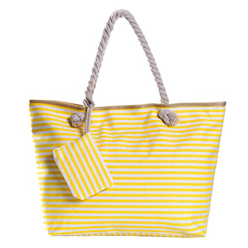 Bolso de Playa Grande con Cremallera Bolso de Hombro a Rayas Blancas Amarillas
