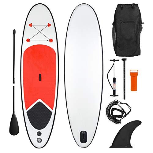 Ribelli Opblaasbaar Stand Up Paddling Board – met rugzak, peddel, 3 vinnen, luchtpomp, reparatieset en enkelband – gewicht ca. 12 kg – Paddle Board in rood en wit – max. Belastbaarheid 100 kg, padddleboard: XXL 305 x 84 x 10 cm.