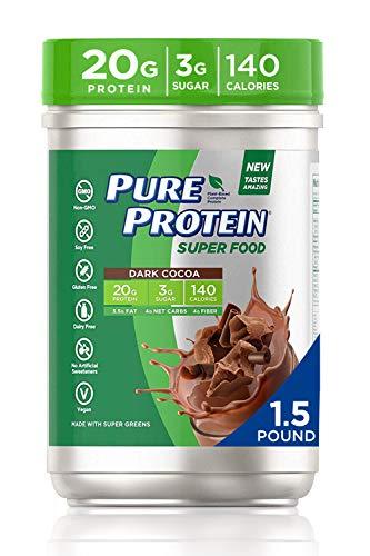 Pure Protein SuperFood, Keto Diet Friendly, Gluten Free, Plant Based Protein Powder, Dark Cocoa, 1.51lbs