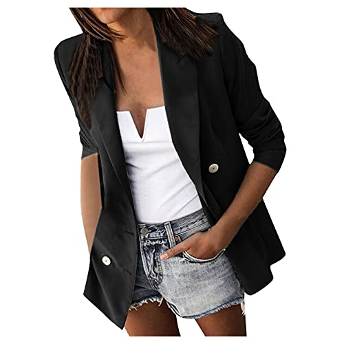 Women's Button Down Shirt Jacket Casual Solid Color Loose Cardigan with Pocket Lapels Long Sleeve Coat Black
