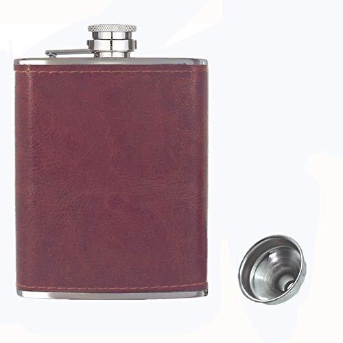 Tasca fiaschetta 8 once con imbuto, fiaschetta per alcol, fiaschetta per liquore, 18/8 in acciaio inossidabile Fiaschetta da tasca in pelle marrone, 100% a prova di perdite, per bere alcolici