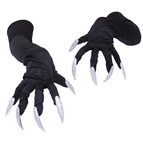 LAEMILIA Handschuhe mit Lange Fingernägel Krallen Schwarz Lange für Halloween Party Nachtclub Kostüm Performance (Schwarz)