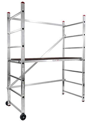 STRUKTURO fahrbares Heimwerkergerüst - Arbeitshöhe 3,00 m - Kleingerüst - Arbeitsgerüst mit Treppenverstellung, aus Aluminium, für innen und außen