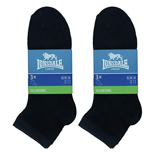 Lonsdale 6 Paar Quarter-Socken, Höhe über dem Knöchel, ausgezeichnete Qualität aus mercerisierter Baumwolle (Schwarz, 43-46)
