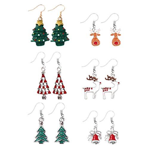 NUOBESTY 6 Pares de Pendientes de Navidad rbol de Navidad Jingle Bell Reno Cuelga Pendientes de Gota Regalo de Joyera de Navidad Disfraz de Navidad para Mujeres Nias