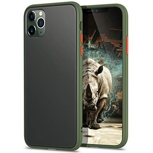 YATWIN Funda para iPhone 11 Pro MAX(6,5''), [Shockproof Style] Transparente Mate Case, TPU Bumper Rubber y Botones Coloridos, Carcasa Protectora para iPhone 11 Pro MAX 2019 - Verde Noche