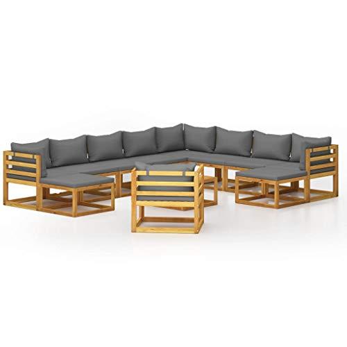 vidaXL Madera Maciza de Acacia Muebles de Jardín 12 Piezas Cojines Mobiliario Hogar Terraza Exterior Sofá Mesa Asiento Suave con Respaldo