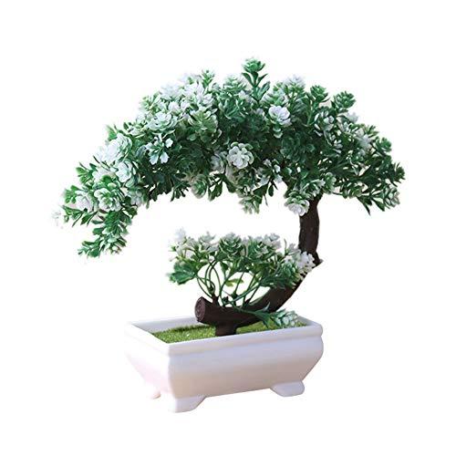 Bluelans Artificial Bonsai Cedar, Fake Potted Bonsai Tree Simulation Decorative Artificial Plant Flower Fake Pot Plants Ornaments Home Office Desk Decor White + Green