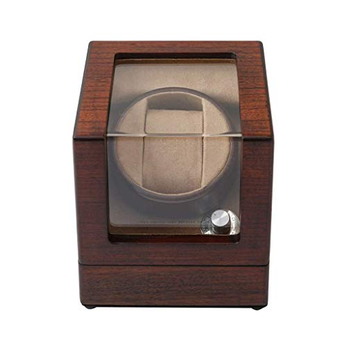 Caja enrolladora automática para Relojes, para 1 Reloj de Pulsera Relojes de Madera a Prueba de Agua Caja Enrollable Giros por día de rotación Ultra silenciosa, marrón
