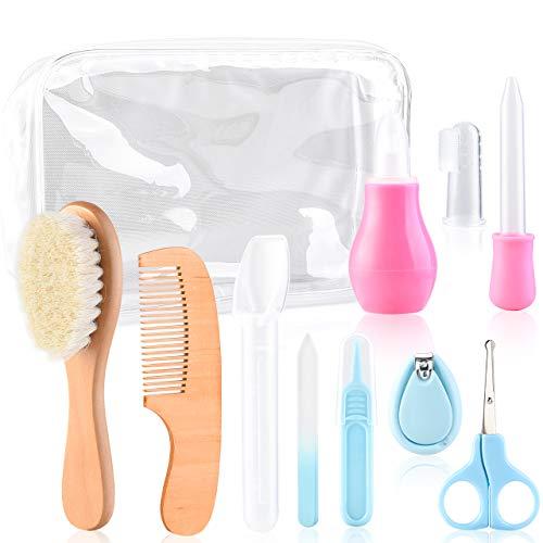 Lanthour Babypflege-Set, 11-teilige Nagel- und Haarschere, Zahnbürsten, Nasensauggerät, Nagelknipser, Baby-Medizin-Feeder