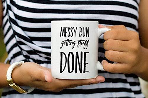 Moño desordenado y hacer las cosas, taza de motivación, taza de café, taza de mamá, taza de moño desordenado, nudo superior, vida de mamá, jefe de niña, taza de cita, regalo, taza