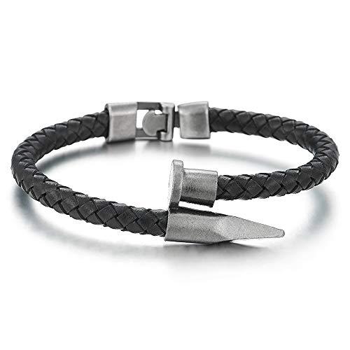 iMECTALII Herren Damen Rauhe Oberfläche Nägel Dünne Schwarz Geflochtenes Leder Armband Wickeln Schweißband