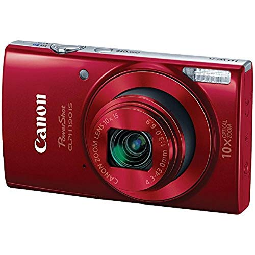 Canon PowerShot ELPH 190 IS Digital Camera (Red) with 10x Optical Zoom and Built-In Wi-Fi