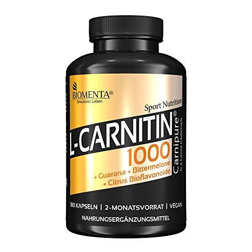 BIOMENTA L-Carnitin 1000 – mit 1.000 mg L-Carnitin (Carnipure) + Guarana + Bittermelone + Citrus Bioflavonoide – vegan - 180 L Carnitin Kapseln hochdosiert - 2 Monatskur