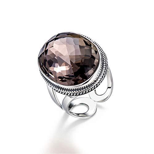 Lotus Fun S925 Sterling Silber Ringe Einfach Retro Edelstein Brown Tee Kristall Schneidfläche Offener Ring Einstellbare Größe Persönlichkeit Temperament Schmuck für Frauen und Mädchen