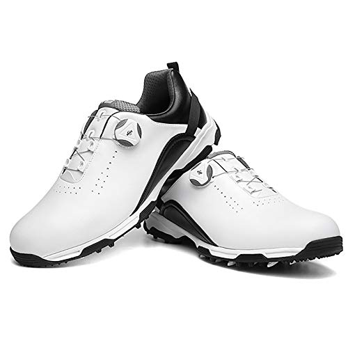 RTY Men's Waterproof Leather Golf Shoes with Spiked, Breathable Outdoor Sports Shoes with Rotatable Shoe Lace,Schwarz,43