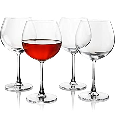 FAWLES Crystal Red Wine Glasses Set of 4, 23 Oz Thin Rim Long Stem Ballon Wine Goblets, Housewarming, Wedding, Anniversary Wine Gift Set