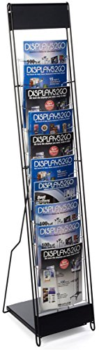 """Portable Magazine Rack with 10 Pockets for 8.5x11 Catalogs, Carry Bag Included, 54""""h Floor-Standing Literature Display with Tiered Design, Steel (Black)"""
