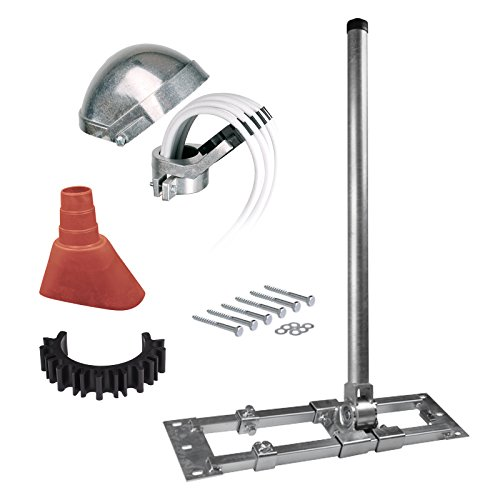 HB-DIGITAL Set: Dachsparrenhalter Herkules 48/1300 s48/130, Ø 48mm 1,3m + Alumastkappe + Manschette rot + Kabelclip + 6X Schrauben