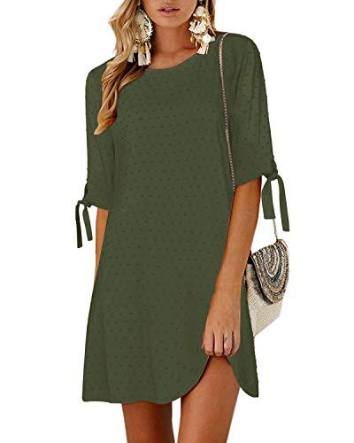 YOINS Langarm Blusenkleid Damen Kleider Tshirt Winterkleid für Damen Rundhals Minikleid Lose Tunika mit Bowknot Ärmeln H-armeegrün M