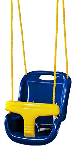 Gorilla Playsets 04-0032-B High Back Plastic Infant Swing with Yellow T bar & Rope, Blue with Yellow