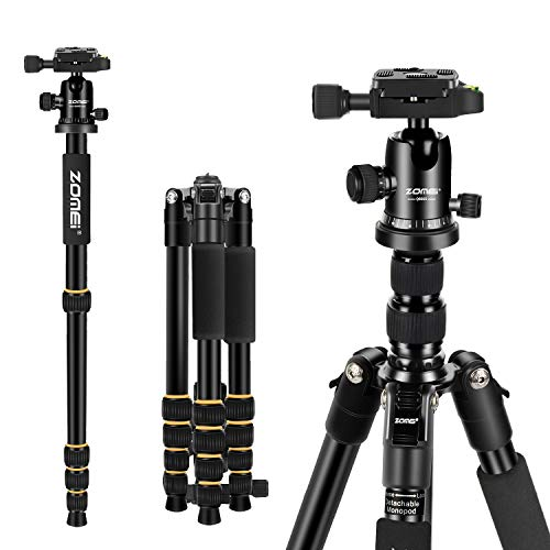 """ZOMEi Camera Tripod 62"""" Light Weight DSLR Tripod with Ball Head Quick Release Plate and Carrying Case (Aluminum Tripod)"""
