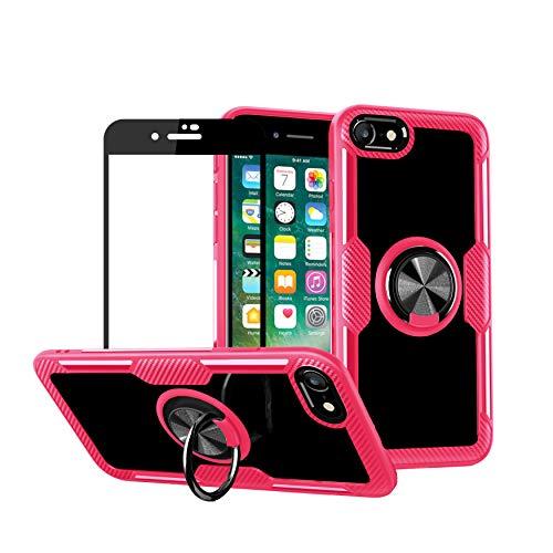 1stfeel Funda Compatible con iPhone 7,Transparente PCcase con de Anillo de rotación de 360 Grados Bumper + Cristal Templado Protector de Pantalla