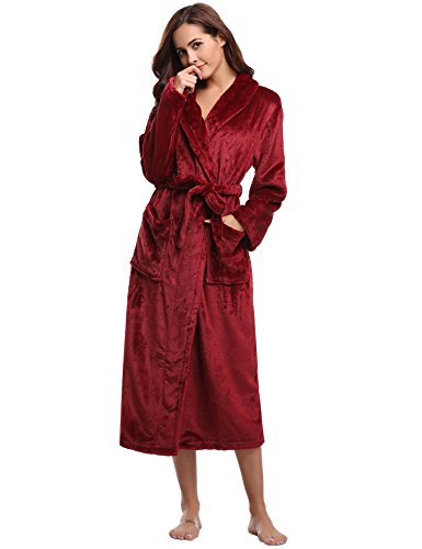 Aibrou Bademantel Damen Winter Morgenmantel super weiches Flauschiges Coral Fleece Warmer Schlafanzug Nachtwasche aus Flanell Saunamantel Frottee Kleidung Weinrot S - EU(36-38)