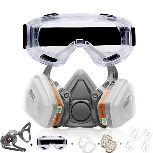 RANKSING :SFM-6200 Reusable Dustproof Active Carbon Respirator with Glasses , for Dustproof and Formaldehyde, Decoration, Paint and Polishing and Other work