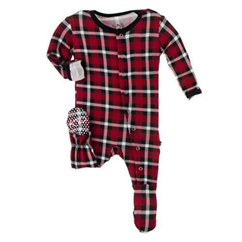 Kickee Pants Print Footie with Snaps, Stylish Jammies, Onesie Boy or Girl Baby Clothes, Sleepwear for Babies (Crimson 2020 Holiday Plaid - Micro-Preemie)
