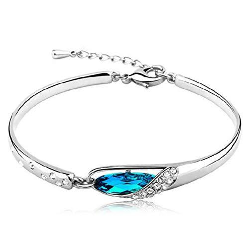 Wiftly 1 Pcs Damen mädchen Armband Silber 925, Blau Kristall Glizter Charm-Armreifen Modeschmuck,verstellbar,Geburtstag, Weihnachten Geschenk für Freundin,