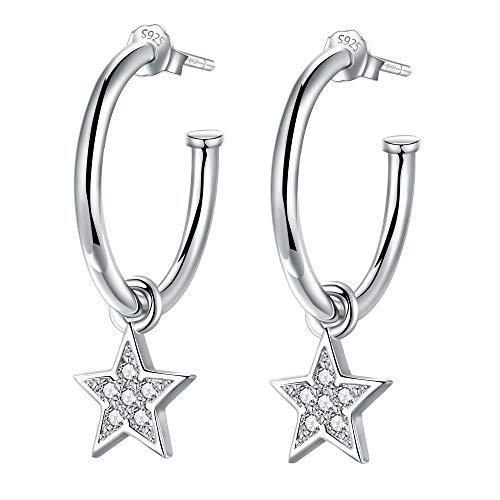 Lydreewam Pendientes aro colgantes De estrella/Luna plata de ley 925 con 3A circonia cúbica para mujer, diámetro 20mm