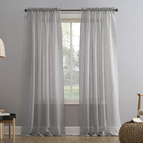 """No. 918 Erica Crushed Texture Sheer Voile Rod Pocket Curtain Panel, 51"""" x 63"""", Silver Gray"""