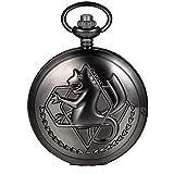 JewelryWe reloj de bolsillo de cuarzo Negro Vintage número romano, Reloj de bolsillo hombre caballero