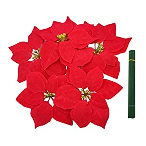 M2cbridge Christmas Picks Red Poinsettia Christmas Tree Ornaments with Wire Stem (50 x Poinsettia with stem)